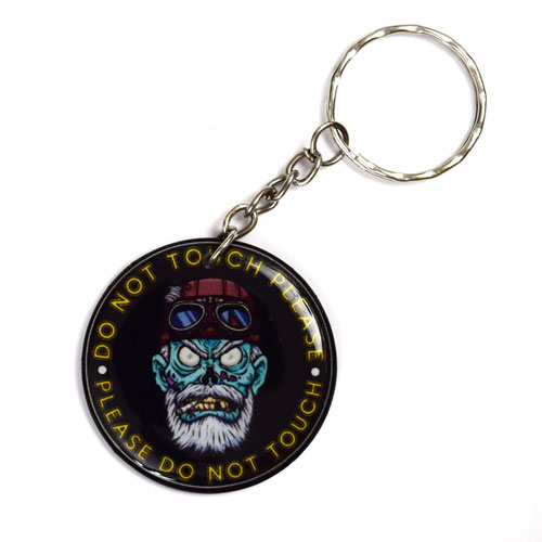 Do Not Touch Please Angry Zombie Rider Keychain Key Chain Keyring Key Ring Black