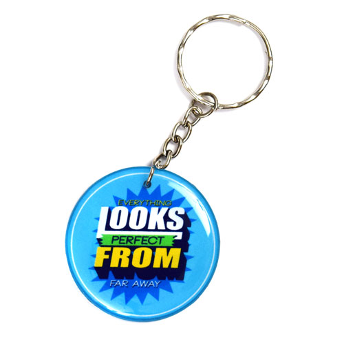 Everything Looks Perfect From Far Away Quote Keychain Key Chain Keyring Key Ring