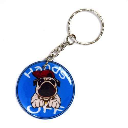 Hands Off Bulldog With Red Hat Keychain Key Chain Keyring Key Ring Double Sided
