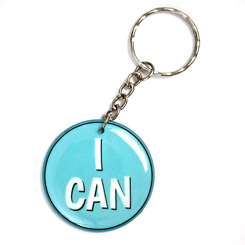 I Can Slogan Keychain Key Chain Keyring Key Ring Double Sided Round