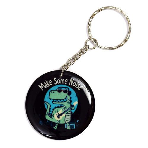 Make Some Noise Little Dinosaur Music Keychain Key Chain Keyring Key Ring Black