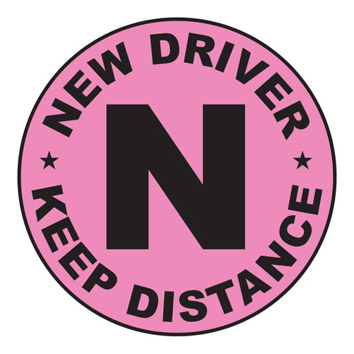 New Driver Keep Distance Layered Vinyl Sticker / Decal Round Shape Pink & Black Color