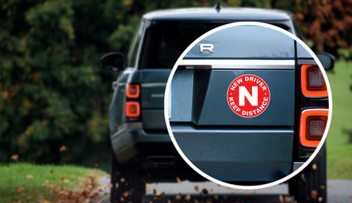 New Driver Keep Distance Layered Vinyl Sticker / Decal Round Shape Red & White Color