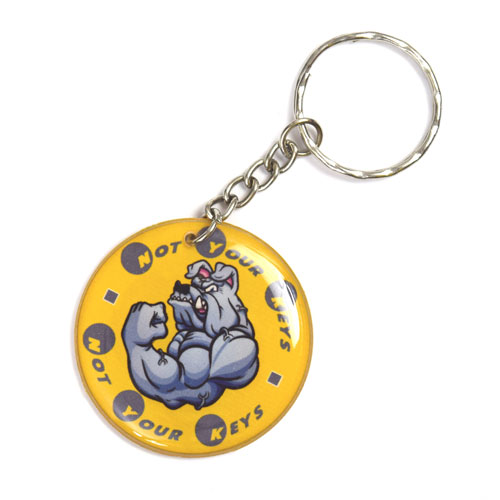 Not your Keys Angry Bulldog Keychain Key Chain Keyring Key Ring Double Sided