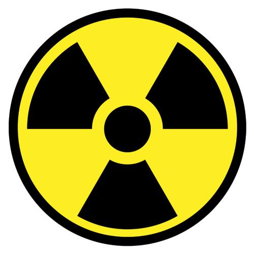 Radiation Symbol Radioactive Caution Sign Layered Vinyl Sticker / Decal Round Shape Yellow & Black Color