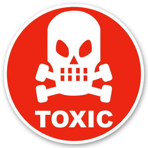 Toxic Sign Symbol Skull Layered Vinyl Sticker / Decal Round Shape Red & White Color