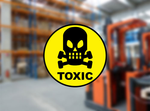 Toxic Sign Symbol Skull Layered Vinyl Sticker / Decal Round Shape Yellow & Black Color