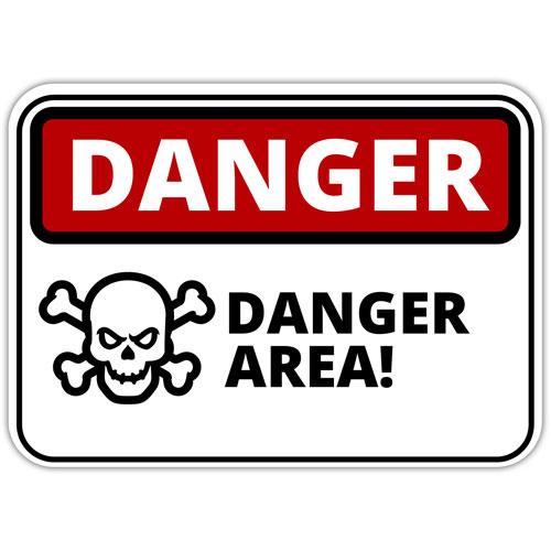 Danger Area Warning Sign Crossbones Skull Layered Vinyl Sticker / Decal Red, Black & White Color