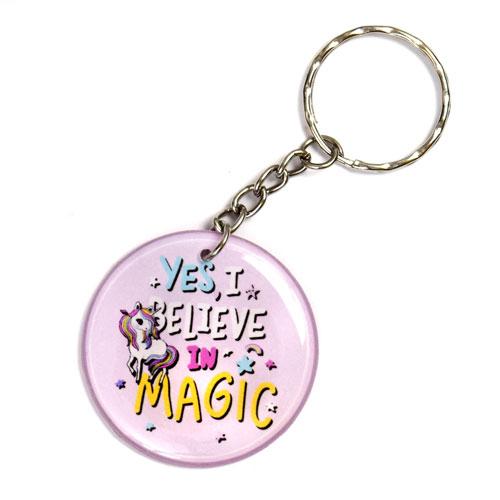 Yes I Believe In Magic Unicorn Keychain Key Chain Keyring Key Ring Double Sided