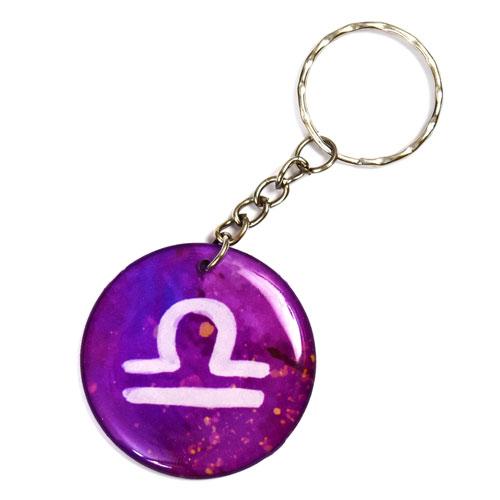 Zodiac Sign Libra Keychain Key Chain Keyring Key Ring Pendant Double Sided Round
