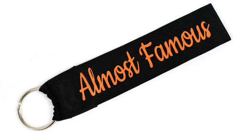 Almost Famous Funny Wristlet Key Fob Fabric Keychain Cloth KeyFob Black & Orange Color