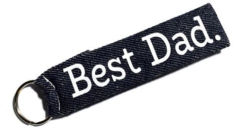 Best Dad Fabric Wristlet Keychain Cloth Key Fob Family KeyFob Key Ring Blue