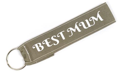 Best Mum Wristlet Key Fob Fabric Keychain Cloth Family KeyFob Khaki & White Color
