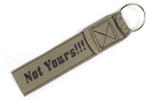 Not Yours!!! Wristlet Key Fob Fabric Keychain Cloth KeyFob Khaki & Black Color