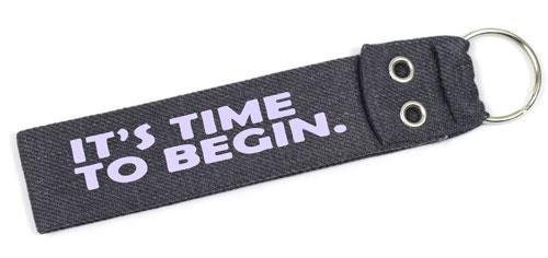It's Time To Begin Quote Wristlet Key Fob Fabric Keychain Cloth KeyFob