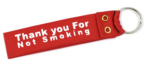 Thank You For Not Smoking Wristlet Key Fob Fabric Keychain Cloth KeyFob Red & White Color