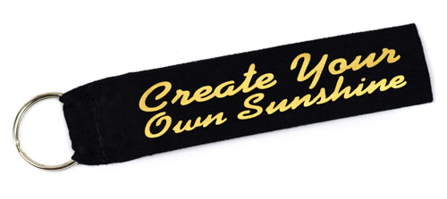 Create Your Own Sunshine Quote Fabric Wristlet Keychain Cloth Key Fob Black & Gold Color