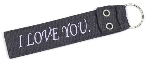 I Love You Wristlet Fabric Keychain Cloth Key Fob KeyFob Grey & Purple Color