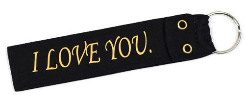 I Love You Fabric Wristlet Keychain Cloth Key Fob KeyFob Black & Gold Color