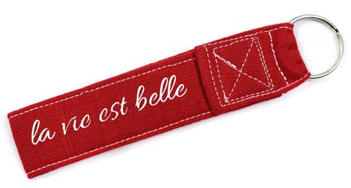 La Vie Est Belle Quote Fabric Wristlet Keychain Key Fob Cloth Red & White Color