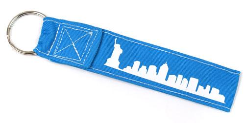New York City Fabric Wristlet Keychain Cloth Key Fob KeyFob Blue and White Color