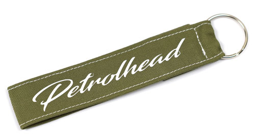 Petrolhead Fabric Wristlet Keychain Petrol head Cloth Key Fob Khaki Color KeyFob