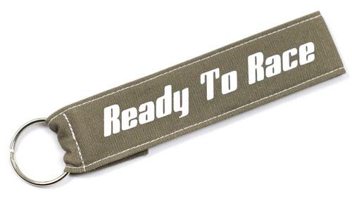 Ready To Race Fabric Wristlet Keychain Cloth Key Fob Racing KeyFob Khaki & White Color