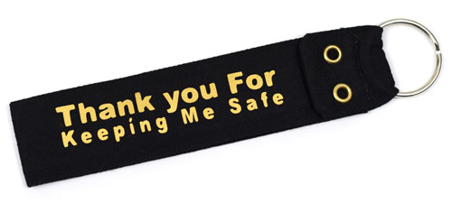 Thank You For Keeping Me Safe Fabric Wristlet Keychain Good Driver Cloth Key Fob