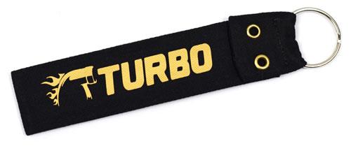 Turbo Fabric Wristlet Keychain Turbocharger Cloth Key Fob KeyFob Black & Gold Color