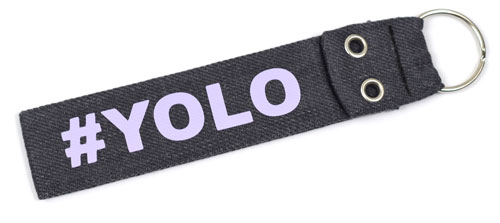 #YOLO You Only Leave Once Quote Fabric Wristlet Keychain Cloth Key Fob Gray Color