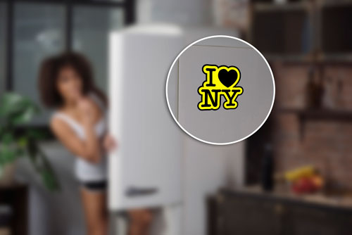 I Love NY Heart New York Layered Vinyl Sticker / Decal Yellow & Black Color