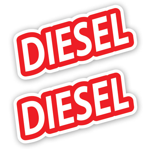 2x Diesel Fuel Only Layered Vinyl Stickers / Decals Red & White Color
