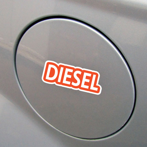2x Diesel Fuel Only Layered Vinyl Stickers / Decals Orange & White Color