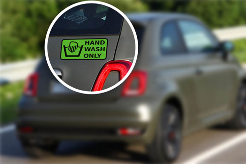 Hand Wash Only Symbol Layered Vinyl Sticker / Decal Green & Black Color