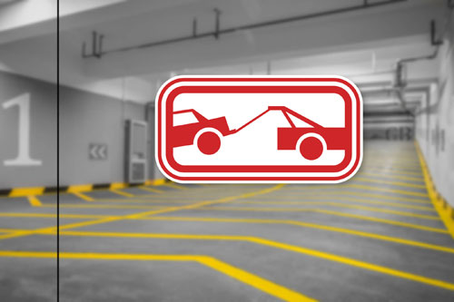 Tow Away Zone No Parking Here Sign Layered Vinyl Sticker / Decal Red & White Color