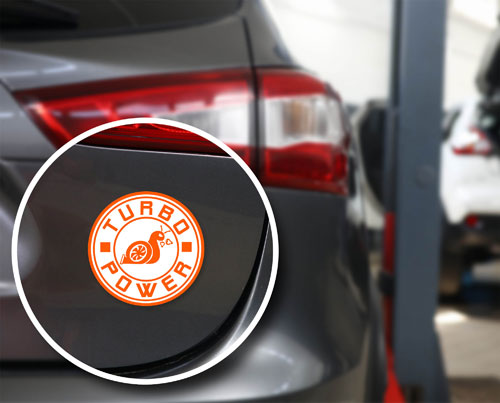 Turbo Power Angry Snail Layered Vinyl Sticker / Decal Round Shape Orange & White Color