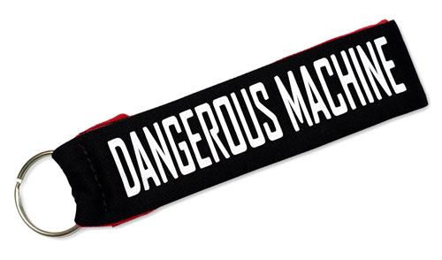 Dangerous Machine Fabric Wristlet Keychain Cloth Key Fob KeyFob Black & Red & White