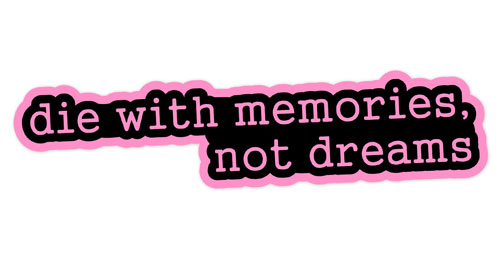 Die With Memories Not Dreams Layered Vinyl Sticker / Decal Pink & Black Color
