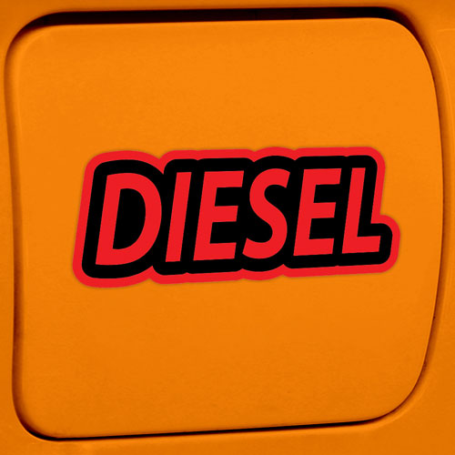 2x Diesel Fuel Only Layered Vinyl Stickers / Decals Red & Black Color