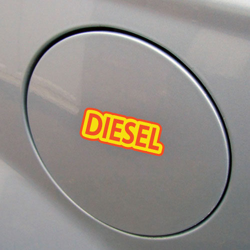 2x Diesel Fuel Only Layered Vinyl Stickers / Decals Yellow & Orange Color