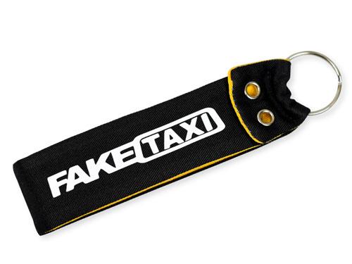 Fake Taxi Wristlet Key Fob Fabric Keychain Cloth Black & Yellow & White KeyFob