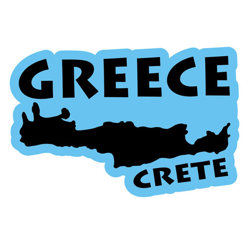Crete Greek Island Greece Layered Vinyl Sticker / Decal Blue & Black Color
