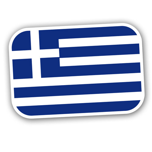Greek National Flag Greece Layered Vinyl Sticker / Decal Blue & White Color