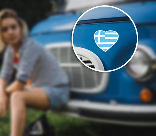 Greek National Flag Heart I Love Greece Layered Vinyl Sticker / Decal Blue & White Color