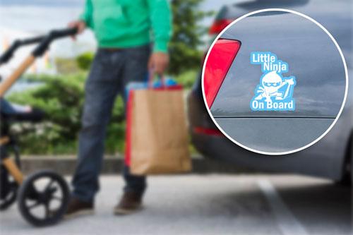 Little Ninja On Board Layered Vinyl Sticker / Decal Blue & White Color