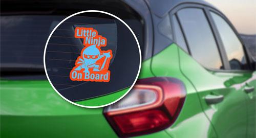Little Ninja On Board Layered Vinyl Sticker / Decal Orange & Blue Color