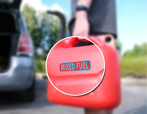 2x Mixed Fuel Only Canister Label Safety Sign Layered Vinyl Stickers / Decals Blue & Red Color