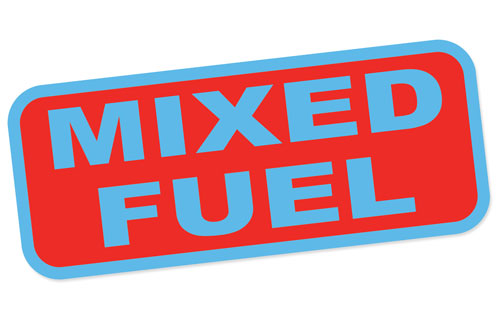Mixed Fuel Only Gasoline Canister Barrel Label Safety Sign Layered Vinyl Sticker / Decal Red & Blue Color