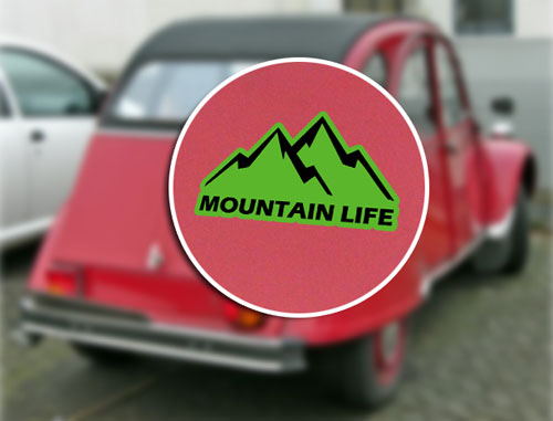 Mountain Life Adventure Layered Vinyl Sticker / Decal Green & Black Color