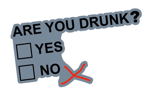 Are You Drunk? Funny Question Layered Vinyl Sticker / Decal Grey, Black & Red Color